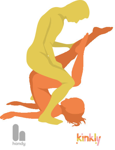 For the butter churner position the receiving partner lies on their back with their legs raised above and behind their head. The penetrating partner then squats and penetrates the receiving partner from above.