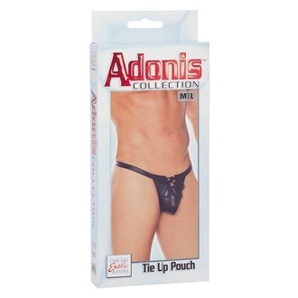 California Exotic Adonis Tie Up Pouch - M/L - Thong style mens underwear with a pouch that can be tied or untied.