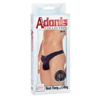 California Exotic Adonis Mesh Thong with C-Ring - M/L - Mens sensual attire.