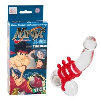 California Exotic Ninja Yumemaru Diamond Cock Cage Red - 4 ring erection enhancement cage.