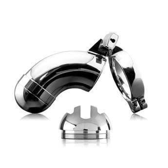 Pipedream Products Metal Worx Chastity Device - A luxurious metal chastity belt for men.
