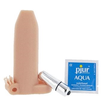 Deemun Extra Girth Vibrating Enhancer - A vibrating penis sleeve for extra fullness and prolonged pleasure during intercourse.
