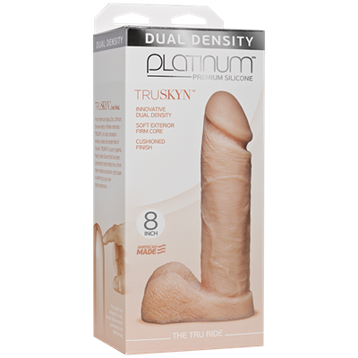 "Doc Johnson Platinum The Tru Ride 8 inch - Vanilla - This 8"" realistic dildo has a firm silicone core."