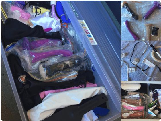 sex toys in bags in a storage bin