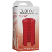 Doc Johnson Platinum The Tru Stroke Beaded - Red - A completely flexible masturbation sleeve that allows you to hold it loose or squeeze it tight.