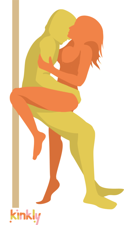 Dirty Dancing Sex Position. Heterosexual partners are facing each other, penetrating partner leaning against a wall, receiving partner half seated on his lap.