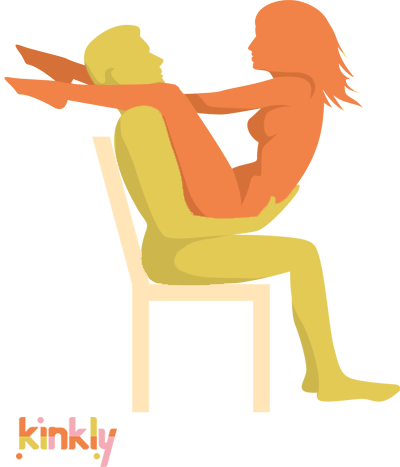 Edge of Heaven Sex Position. Penetrating partner is seated on a chair with receiving partner on their lap. Receiving partner has legs over penetrating partner's shoulders.
