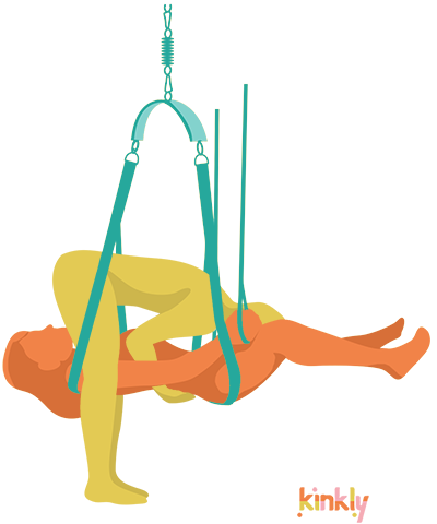 69 sex position in a sex swing or sex sling