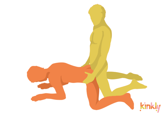 Backdoor Position. The receiving partner is on all fours with their legs spread. The penetrating partner comes in between their spread legs and penetrates their partner from behind.