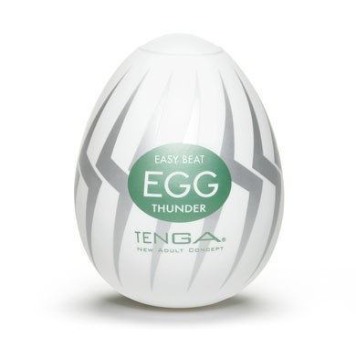TENGA EGG THUNDER - A soft, pliable male pleasure sleeve that is uniquely packaged in an egg.