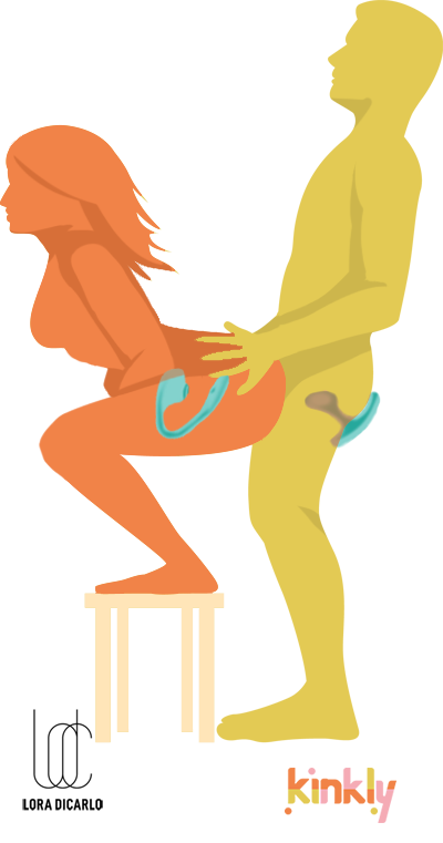 The Challenge Sex Position. The receiving partner is squatting on a short stool with their butt stuck out. The penetrating partner is standing behind the partner to penetrate.