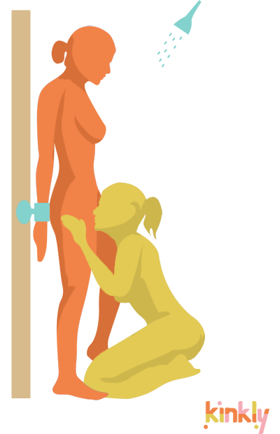 Tongue Tied Shower Oral Sex Position. Person gives oral sex to a bound person in the shower.