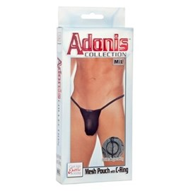 California Exotic Adonis Mesh Pouch with C-Ring - L/XL - Mens sensual attire.