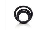 California Exotic Rubber Ring Black 3 Piece Set - Rubber erection enhancement rings.