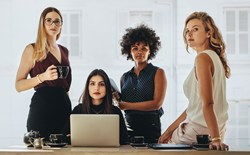 Female startup business team stock photo
