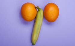 Banana and oranges arranged to resemble male anatomy