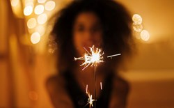 woman celebrating new years eve