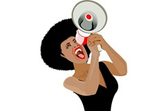 Woman yelling into a loudspeaker