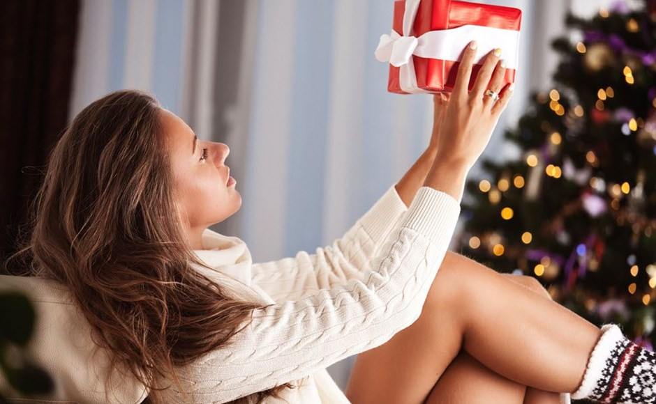 sexy woman with christmas gift