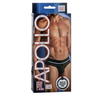 California Exotic Apollo Mesh Brief with C-Ring - L/XL - Mens sensual attire.