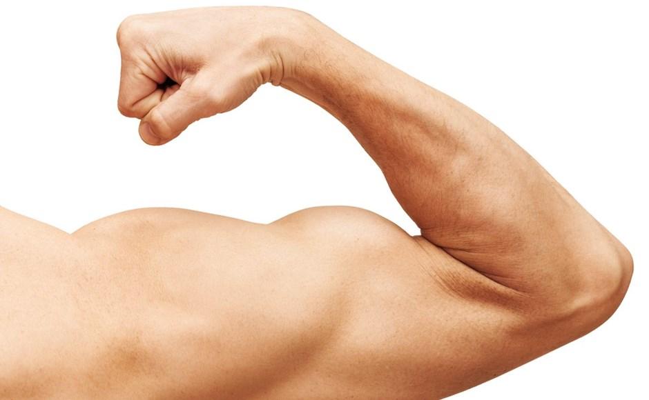 man's arm flexing