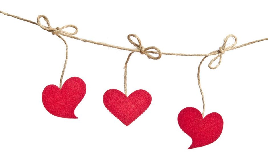 Hearts hanging on a line
