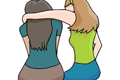Cartoon woman comforting friend