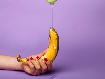 lube dripping onto banana