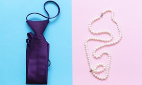 tie on blue pearls on pink depicting male and female preferences