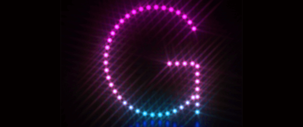 Pink blue dot light font Letter G 3D render illustration isolated on black