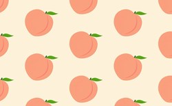 pink peaches and leaves stock illustration