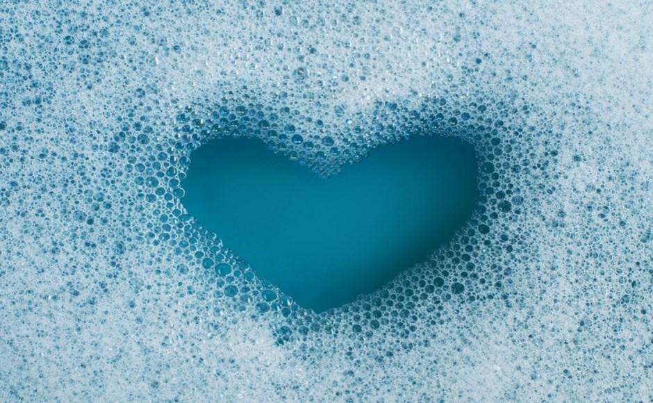 heart in soap bubbles