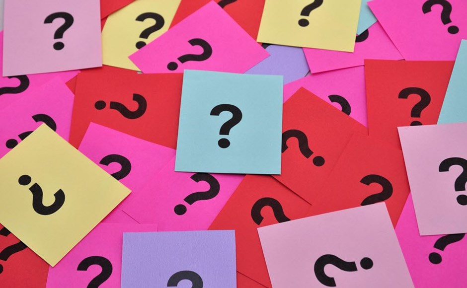 Multicolored question marks